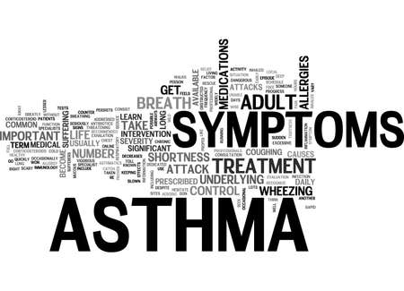 ADULT ASTHMA SYMPTOMS TEXT WORD CLOUD CONCEPT Stock Vector - 79496455
