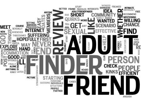 commotion: ADULT FRIEND FINDER REVIEW GOOD OR BAD TEXT WORD CLOUD CONCEPT Illustration