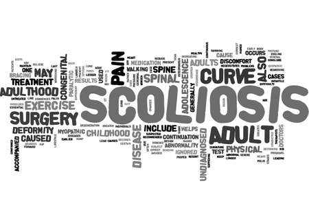 ADULT SCOLIOSIS TEXT WORD CLOUD CONCEPT