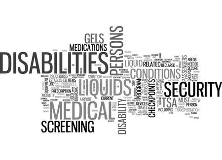 hassle: AIR TRAVEL DISABILITIES AND THE TSA TEXT WORD CLOUD CONCEPT Illustration