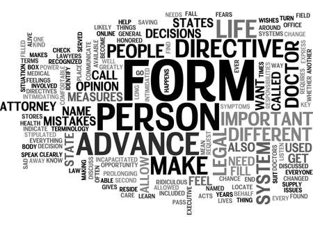 ADVANCE DIRECTIVE FORM TEXT WORD CLOUD CONCEPT