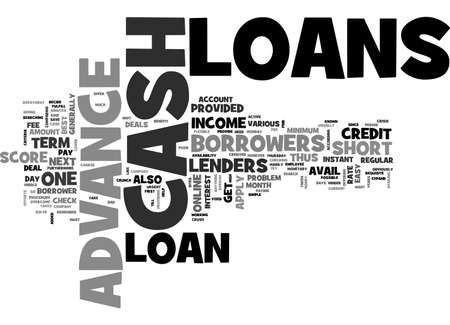 ADVANCE LOANS TO CRUSH THE CASH CRUNCH TEXT WORD CLOUD CONCEPT