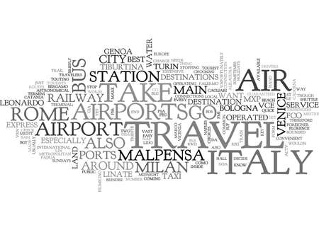 AIR TRAVEL TO ITALY TEXT WORD CLOUD CONCEPT