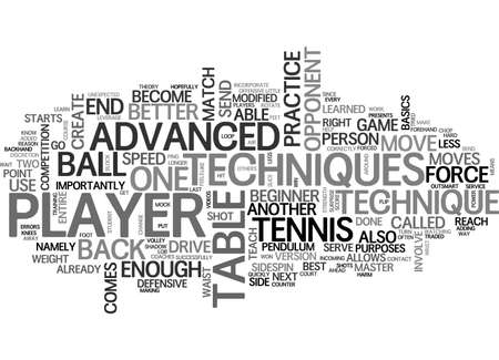 ADVANCED TECHNIQUES IN TABLE TENNIS TEXT WORD CLOUD CONCEPT