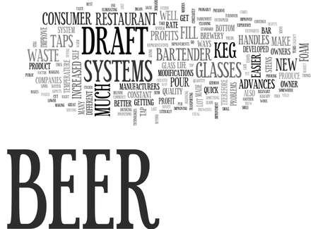 生ビール システムの進歩向上の利益と樽利回りテキスト WORD クラウドの概念は  イラスト・ベクター素材