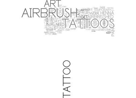AIRBRUSH ART TATTOOS TEXT WORD CLOUD CONCEPT Ilustrace