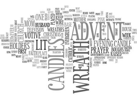 ADVENT WREATH TEXT WORD CLOUD CONCEPT Ilustração