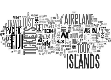 AIRPLANE TICKETS TO FIJI TEXT WORD CLOUD CONCEPT Ilustração