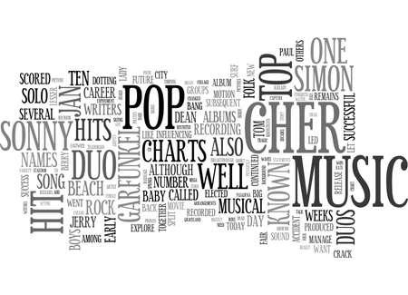 AKA DUOS IN POP MUSIC TEXT WORD CLOUD CONCEPT Vektoros illusztráció