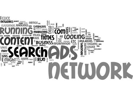 adwords: ADWORDS ADS TO SYNDICATE OR NOT TO SYNDICATE TEXT WORD CLOUD CONCEPT Illustration