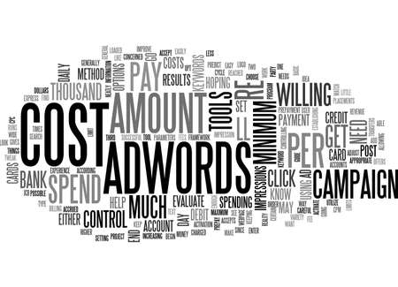 ADWORDS COST HOW TO GUIDE TEXT WORD CLOUD CONCEPT Illustration