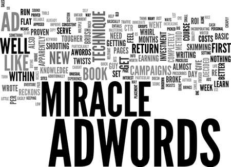 adwords: ADWORDS MIRACLE MY PERSONAL EXPERIENCE TEXT WORD CLOUD CONCEPT