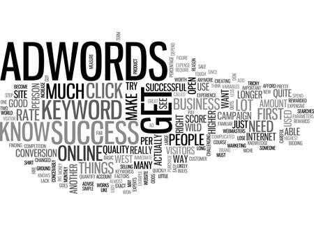 ADWORDS SUCCESS NO LONGER OPEN LIKE THE WILD WEST TEXT WORD CLOUD CONCEPT Illustration