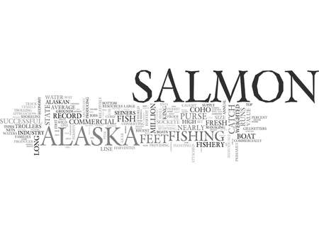 ALASKA S COMMERCIAL SALMON FISHERY TEXT WORD CLOUD CONCEPT Illusztráció