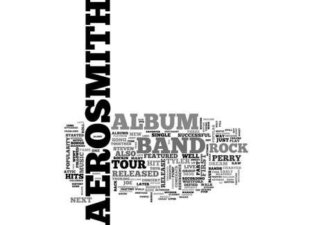 AEROSMITH JUST KEEPS ON ROCKIN TEXT WORD CLOUD CONCEPT Illustration