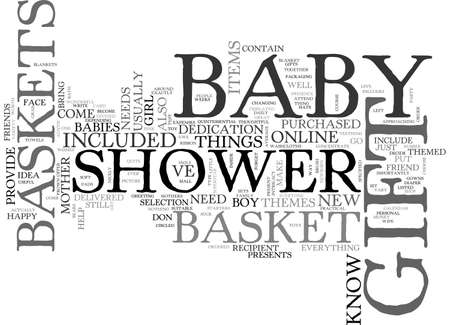 BABY SHOWER GIFT IDEA TEXT WORD CLOUD CONCEPT Çizim