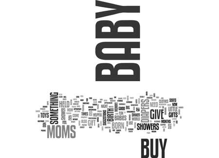 BABY SHOWER GIFTS PERFECT GIFT FOR A MAD MUMMY AND DADDY TEXT WORD CLOUD CONCEPT Illustration