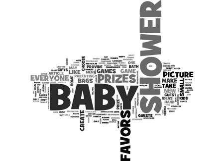 BABY SHOWER PRIZES AND FAVORS TEXT WORD CLOUD CONCEPT