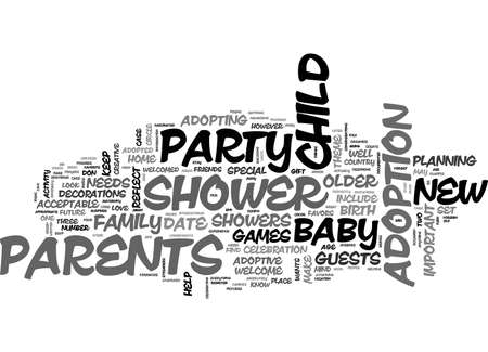 BABY SHOWERS FOR ADOPTIVE PARENTS TEXT WORD CLOUD CONCEPT
