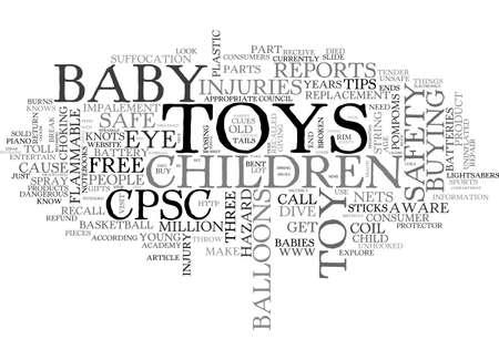 BABY TOY SAFETY TEXT WORD CLOUD CONCEPT Ilustração