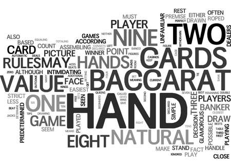 BACCARAT FOR BEGINNERS FREE GAME TIPS TEXT WORD CLOUD CONCEPT