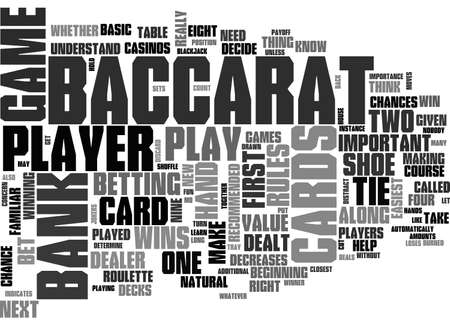 BACCARAT RULES LEARN HOW TO PLAY THE GAME RIGHT TEXT WORD CLOUD CONCEPT Ilustração