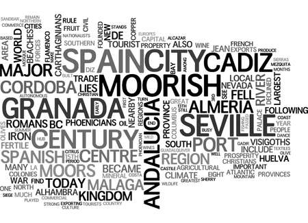 ANDALUCIA WHITE VILLAGES AND FLAMENCO TEXT WORD CLOUD CONCEPT Illustration