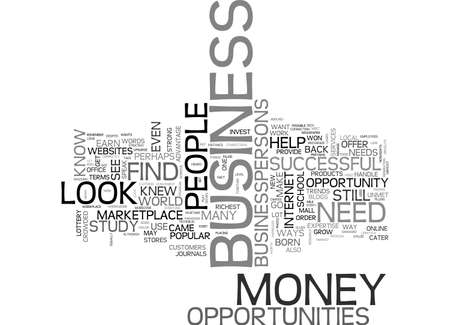 A NEW WAY TO EARN MONEY HOW TO FIND BUSINESS OPPORTUNITIES TEXT WORD CLOUD CONCEPT