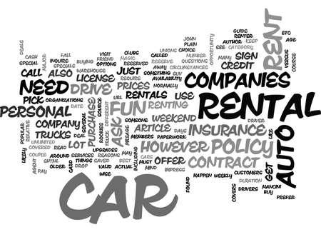 rentals: A ROOKIES GUIDE TO CAR RENTALS TEXT WORD CLOUD CONCEPT