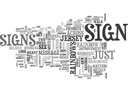 A SIGN OR JUST A RAINBOW TEXT WORD CLOUD CONCEPT Illustration