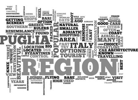 A TOURIST GUIDE TO PUGLIA TEXT WORD CLOUD CONCEPT