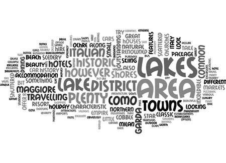 lake district: A TOURIST GUIDE TO THE ITALIAN LAKES TEXT WORD CLOUD CONCEPT