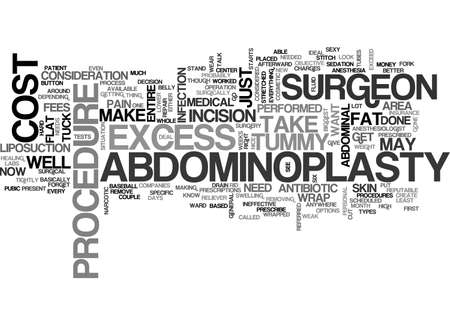 ABDOMINOPLASTY COST OR TUMMY TUCK COST TEXT WORD CLOUD CONCEPT