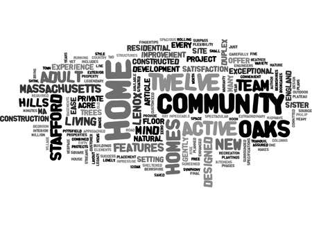 stafford: ACTIVE ADULT COMMUNITY IN MASSACHUSETTS TEXT WORD CLOUD CONCEPT