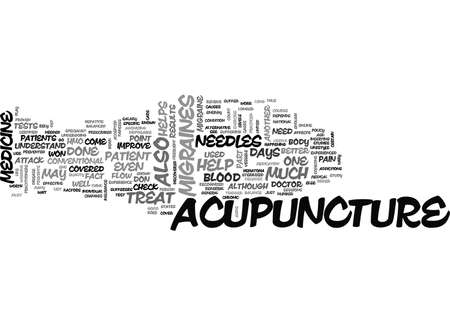 ACUPUNCTURE CAN HELP TREAT MIGRAINES TEXT WORD CLOUD CONCEPT 向量圖像