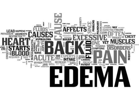 edema: ACUTE EDEMA AND BACK PAIN TEXT WORD CLOUD CONCEPT Illustration