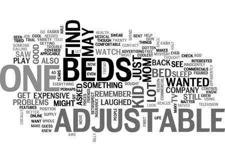 apparently: ADJUSTABLE BEDS TEXT WORD CLOUD CONCEPT Illustration