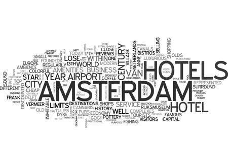 AMSTERDAM HOSTELS TEXT WORD CLOUD CONCEPT