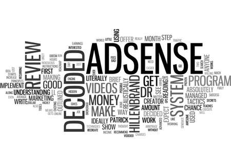 ADSENSE DECODED REVIEW GOOD OR BAD TEXT WORD CLOUD CONCEPT