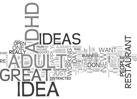 VOLWASSEN ADHD WORDT U EEN IDEA MACHINE TEXT WORD CLOUD CONCEPT