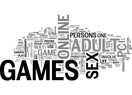 ADULT PC GAMES TEXT WORD CLOUD CONCEPT  イラスト・ベクター素材