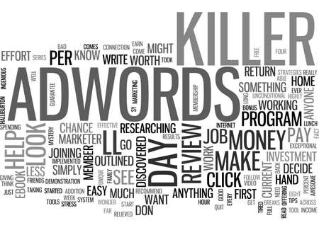 discovered: ADWORDS KILLER REVIEW GOOD OR BAD TEXT WORD CLOUD CONCEPT