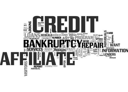 AFFILIATE NICHE AFTER BANKRUPTCY MARKET TEXT WORD CLOUD CONCEPT