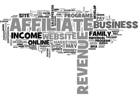 AFFILIATE REVENUE AND THE GENERAL STORE TEXT WORD CLOUD CONCEPT