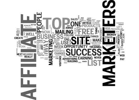 AFFILIATE TIPS FOR THE TOP OF AFFILIATE MARKETERS TEXT WORD CLOUD CONCEPT
