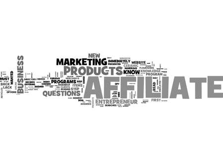 AFFILIATES SHOULD READ ABOUT HIS PRODUCTS TEXT WORD CLOUD CONCEPT Illustration