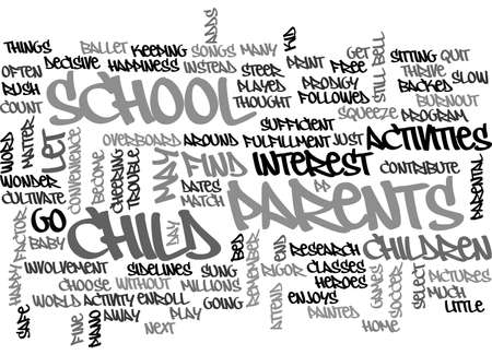 adds: AFTER SCHOOL ACTIVITIES AND BURNOUT TEXT WORD CLOUD CONCEPT Illustration
