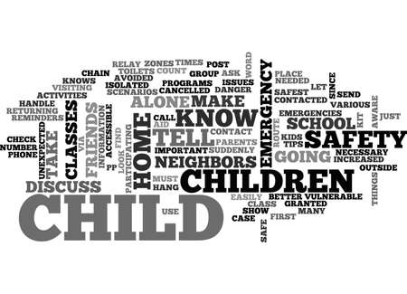 vulnerable: AFTER SCHOOL SAFETY TIPS AND REMINDERS TEXT WORD CLOUD CONCEPT Illustration