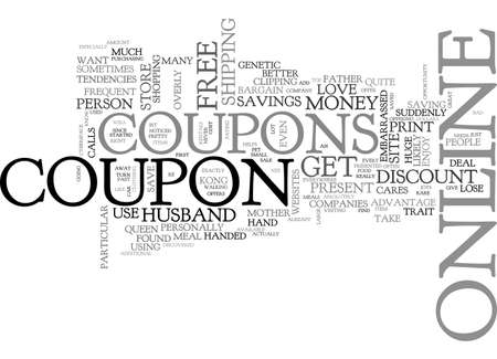 AH THE JOYS OF ONLINE COUPONS TEXT WORD CLOUD CONCEPT