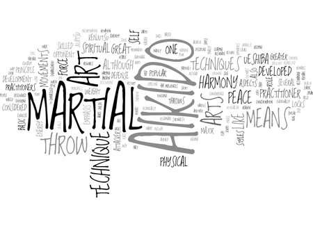 AIKIDO ARTS MARTIAL TEXT WORD CLOUD CONCEPT Çizim